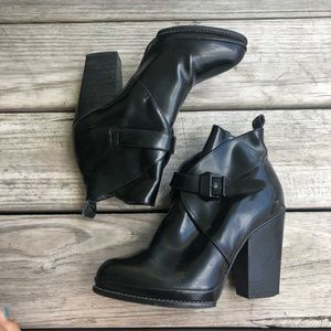 Zara All Black Leather Booties